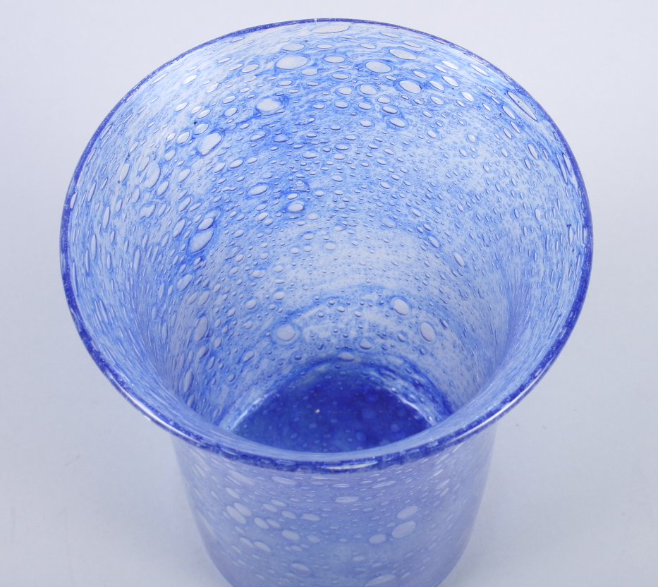 """Lot 35 - A mid 20th century Monart design blue glass cylindrical vase, with slightly flared neck, 7 3/4"""" high"""