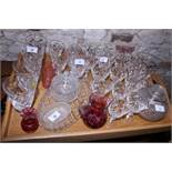 A 1950s cut glass part table service and other glass