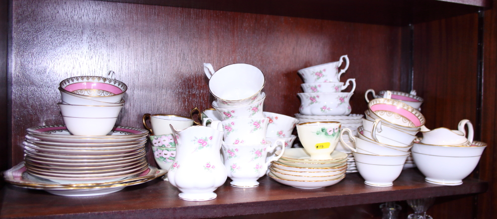 Lot 49 - A mid 20th century pink and gilt porcelain part tea service, together with other teawares and