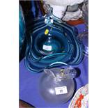 A blue glass bowl, by Kathryn Pearce, a similar smaller bowl and a Lalique frosted glass desk