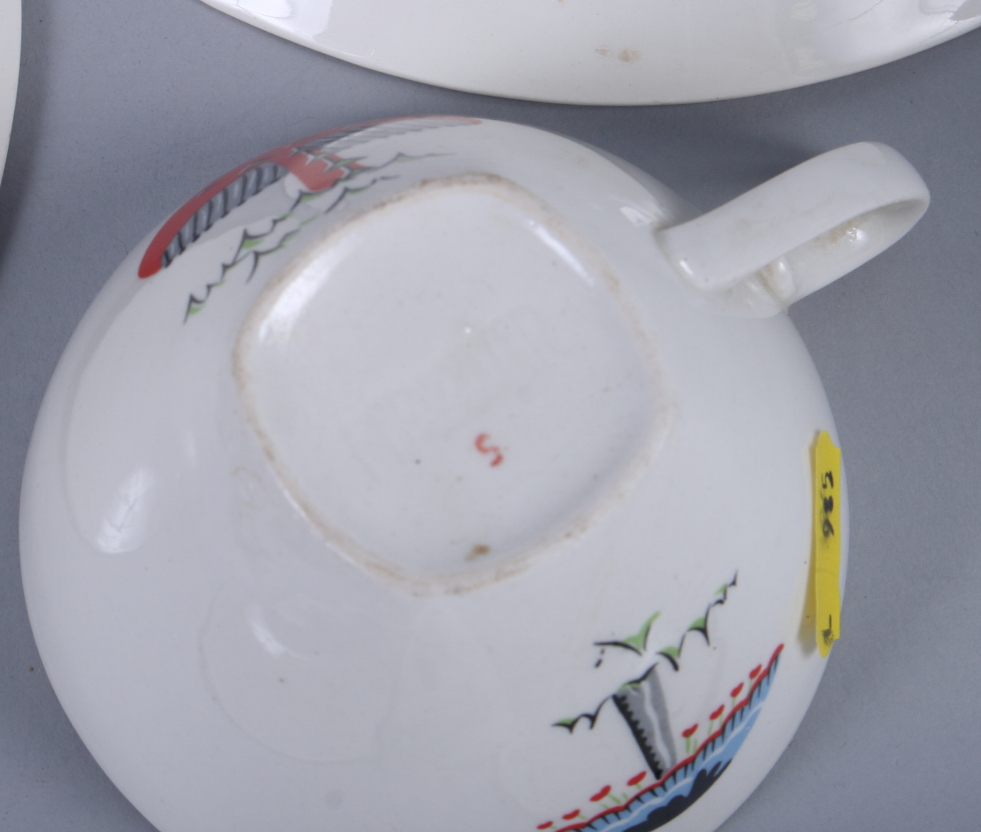 "Lot 48 - A Midwinter, ""Toadstool"" pattern part tea and coffee set, designed by Jessie Tait, including three"