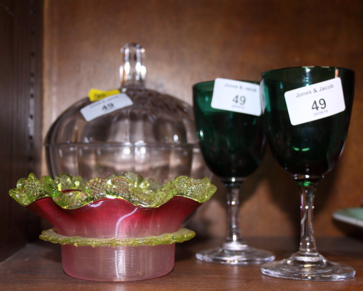 Lot 43 - A pair of Victorian green glass wines, a lamp work shallow bowl and a toilet jar and cover