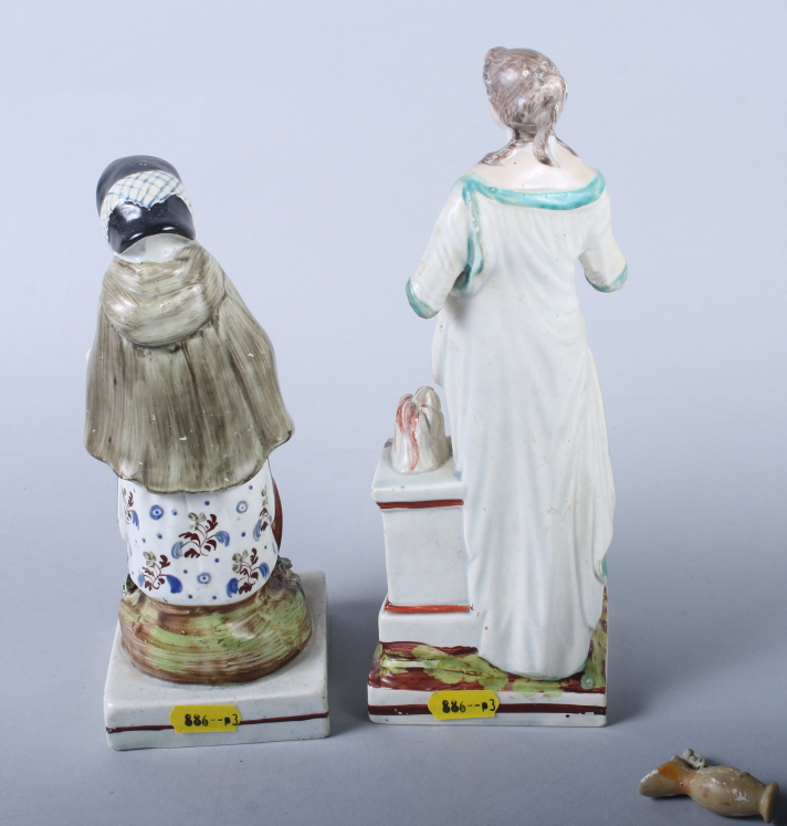 "Lot 17 - An early 19th century Staffordshire figure, ""Age"", 8"" high (restorations) and an 18th century"