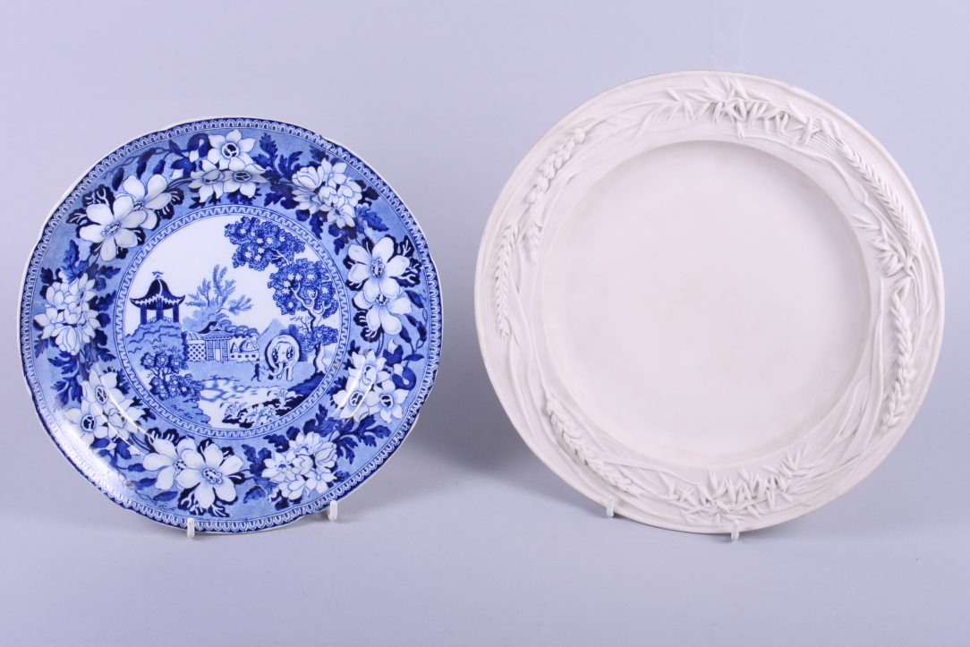 "Lot 25 - A 19th century Rogers & Co blue and white ""Elephant"" pattern pottery plate, 10"" dia, and a"