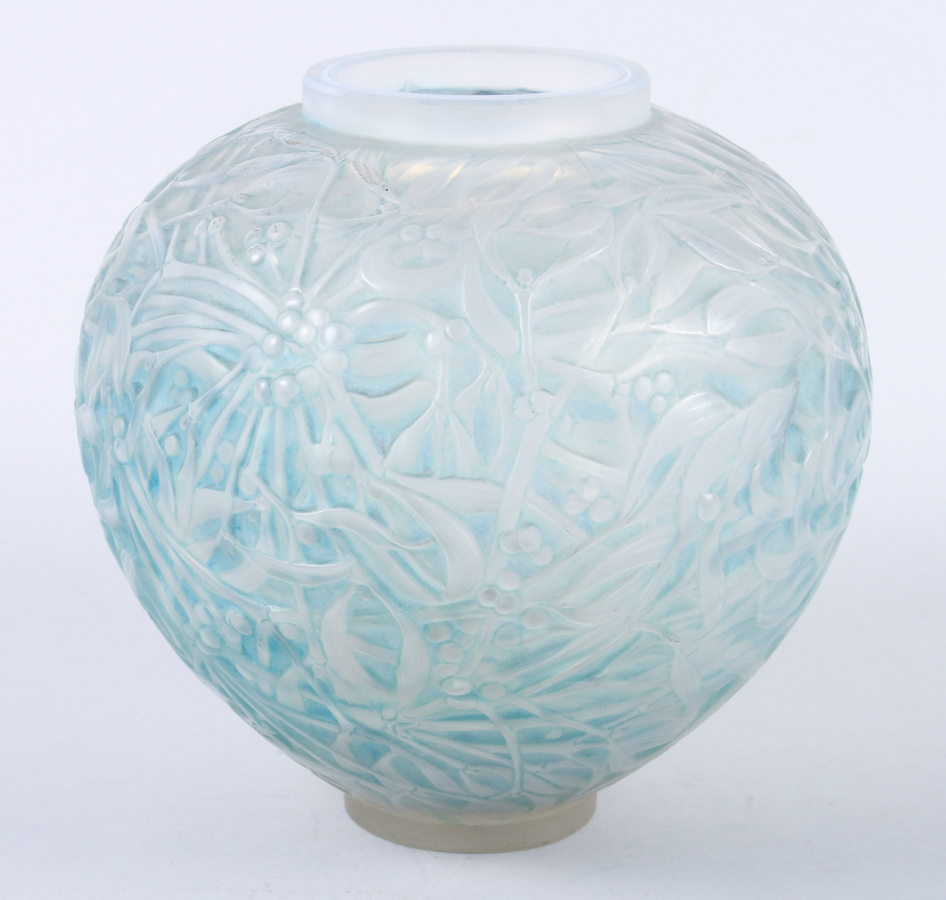 "Lot 30 - A 1920s Rene Lalique ""Boule de Gui"" globular vase, No 948, the frosted glass decorated mistletoe"