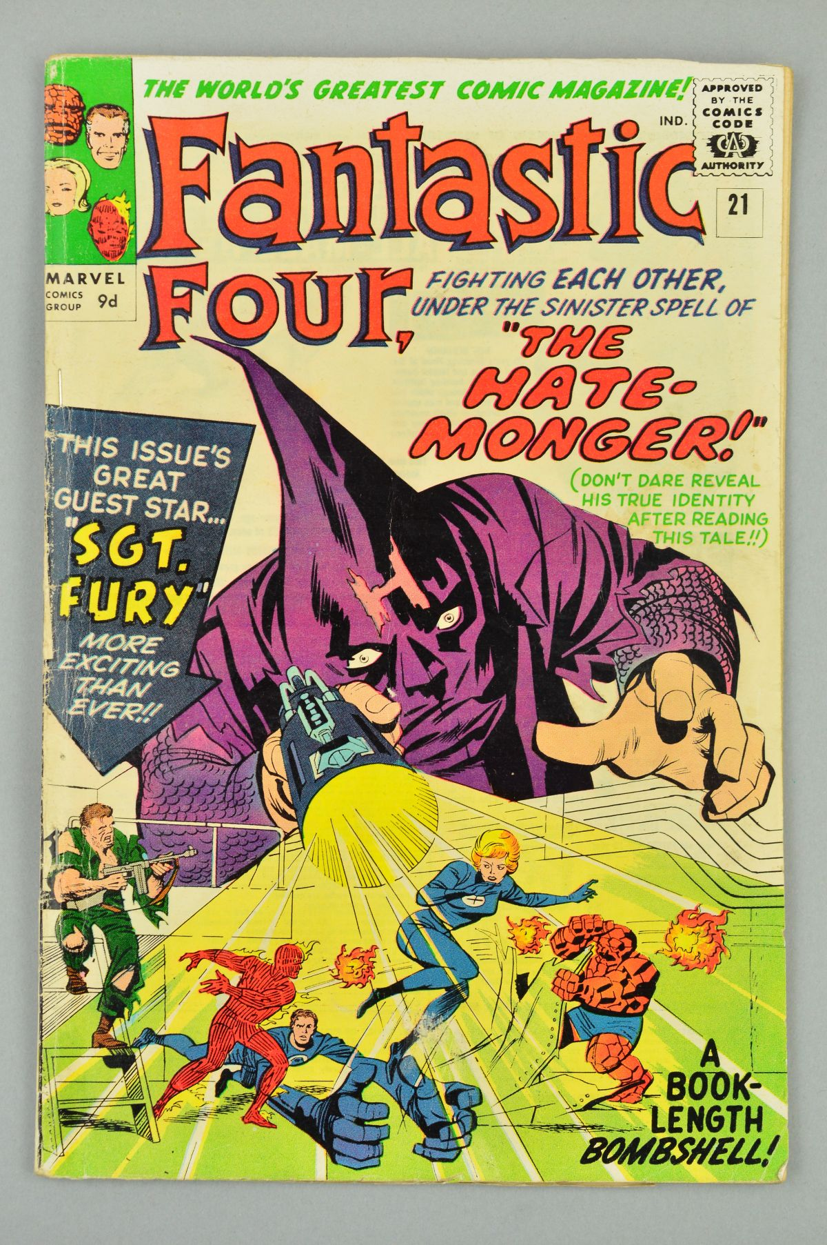 Lot 1821 - Fantastic Four (1961) #21, Published:December 10, 1963, The enigmatic Hate-Monger uses his hate