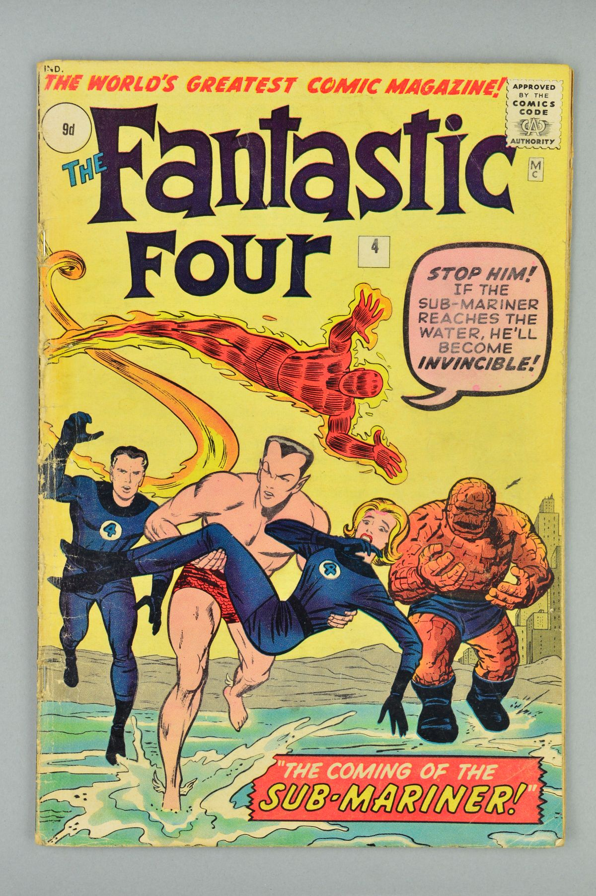 Lot 1804 - Fantastic Four (1961) #4, Published:May 01, 1962, Writer:Stan Lee, The Sub-Mariner has returned!