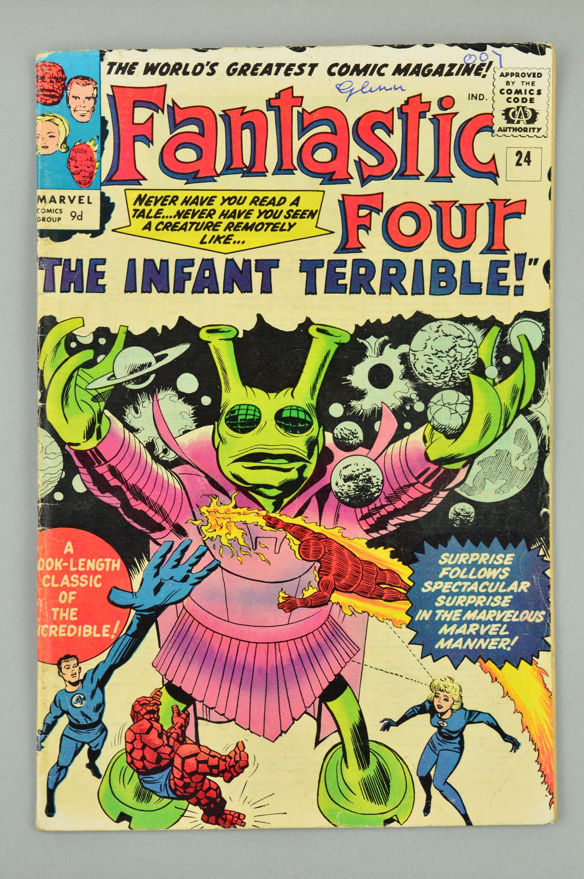 Lot 1824 - Fantastic Four (1961) #24, Published:March 10, 1964, A strange extra-terrestrial being is wreaking