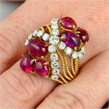 A Burmese ruby cabochon and diamond dress ring.With report 79234-51,