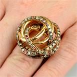 An 18ct gold 'coloured' diamond and orange sapphire 'Matassa' ring,