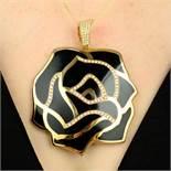 A large black enamel and pave-set diamond rose pendant,