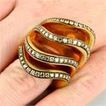 An 18ct gold brilliant-cut 'brown' diamond 'Onde' ring,