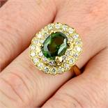 A green zircon and diamond cluster ring.