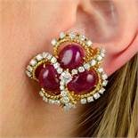 A pair of Burmese ruby cabochon and diamond earrings.