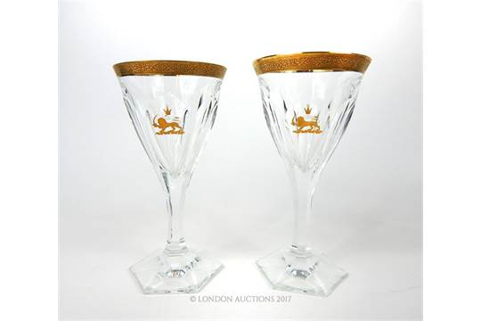 A matched pair of Persian Mohammed Reza Shah Pahlavi crystal wine