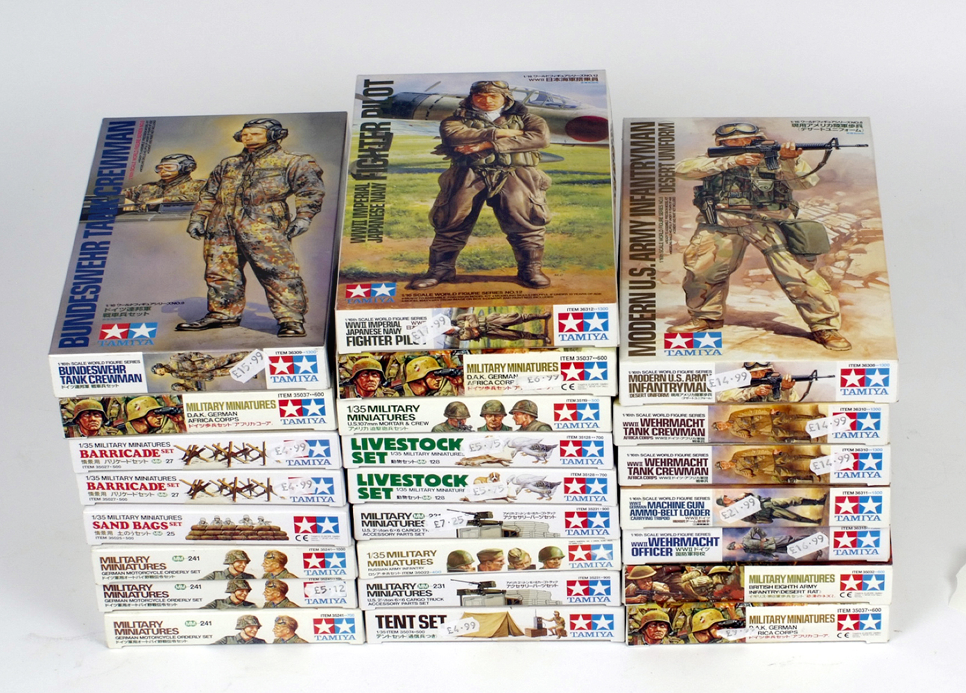 Lot 6 - 24 x Tamiya plastic figures, assorted, includes WWII. Boxed and complete.