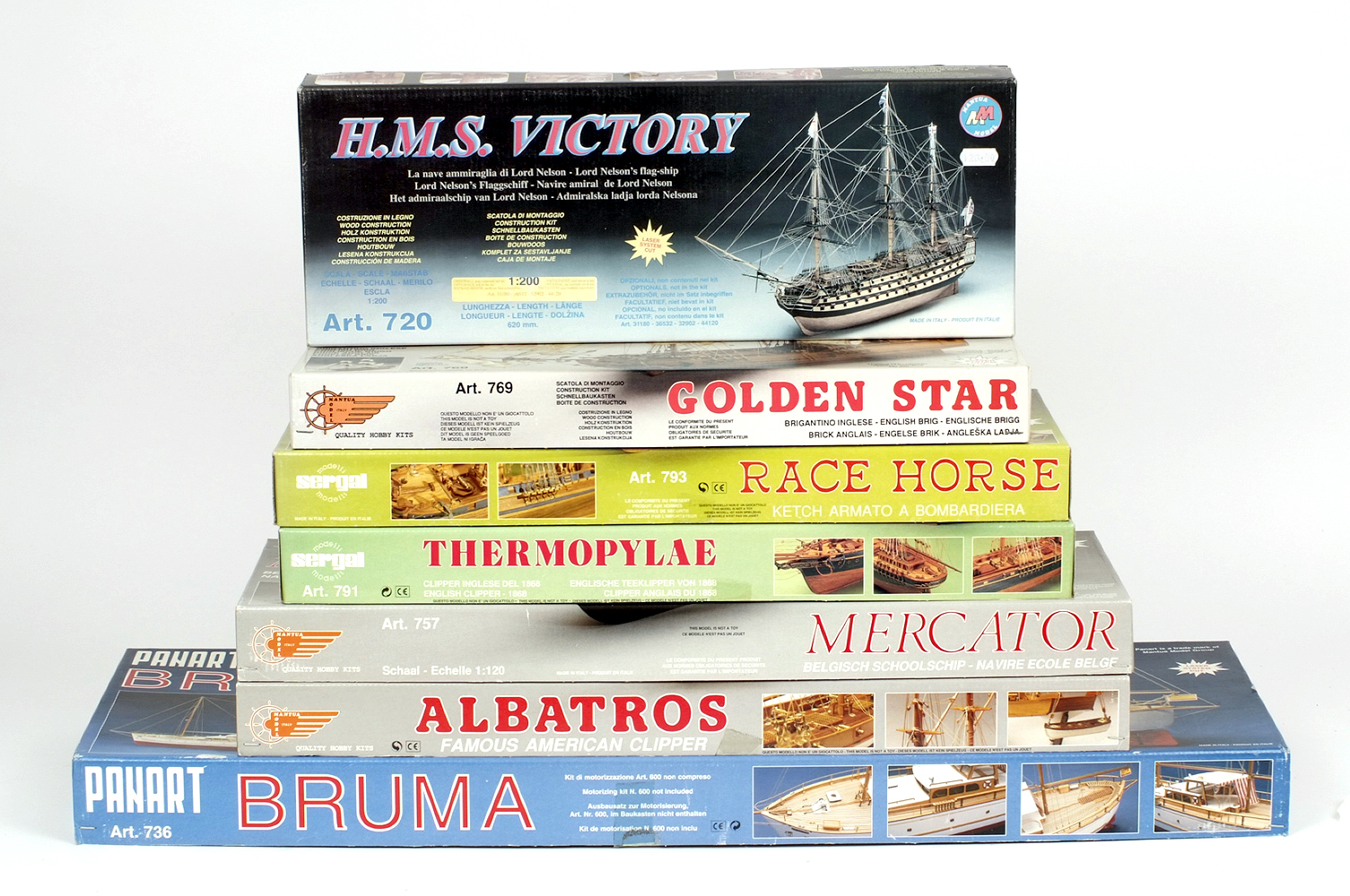 Lot 5 - Seven Mantua wooden boat model kits. Boxed, unstarted and complete.