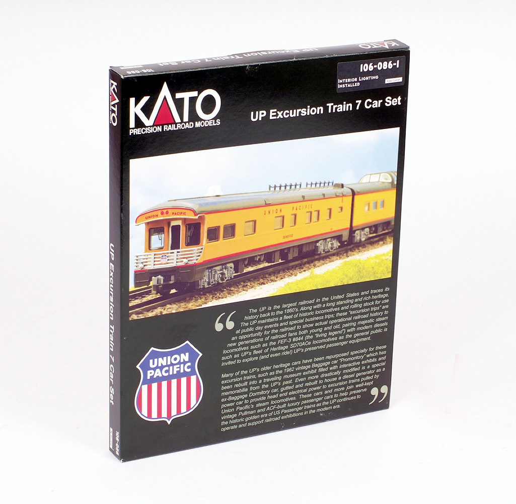 Lot 25 - N gauge. Kato 106-086-1 UP Excursion Train Union Pacific 7 Car Set. Boxed and E.