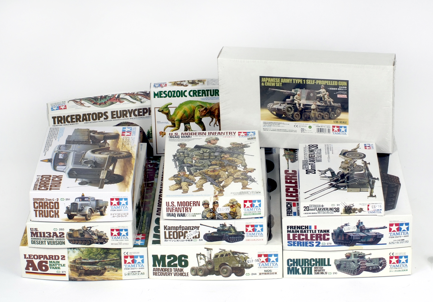 Lot 17 - 11 x Tamiya military plastic model kits, including: Cargo Truck; M26; etc.