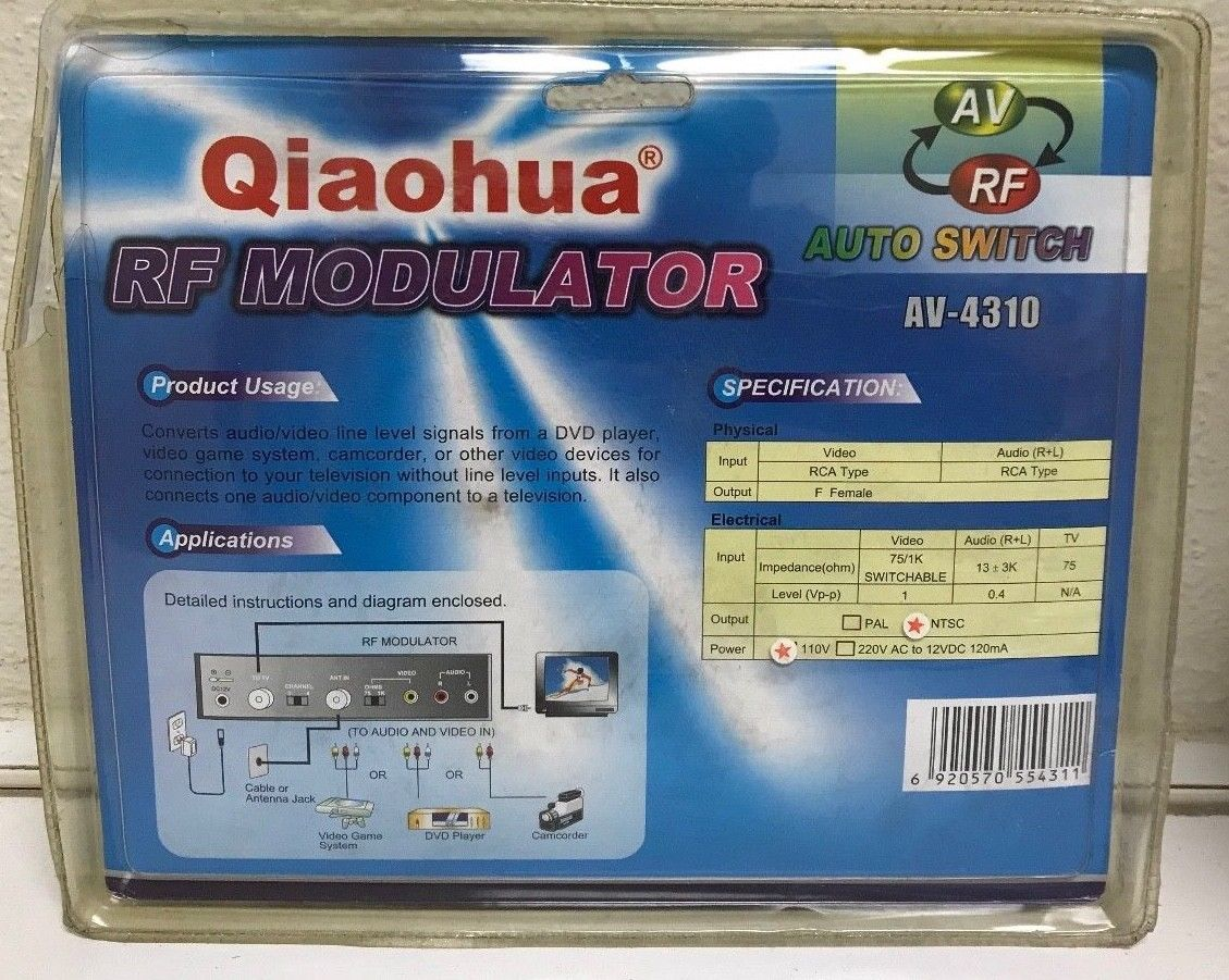 Lot 17 - 28 X V-4310 Qiaohua RF Modulator AV > RF Auto Switch