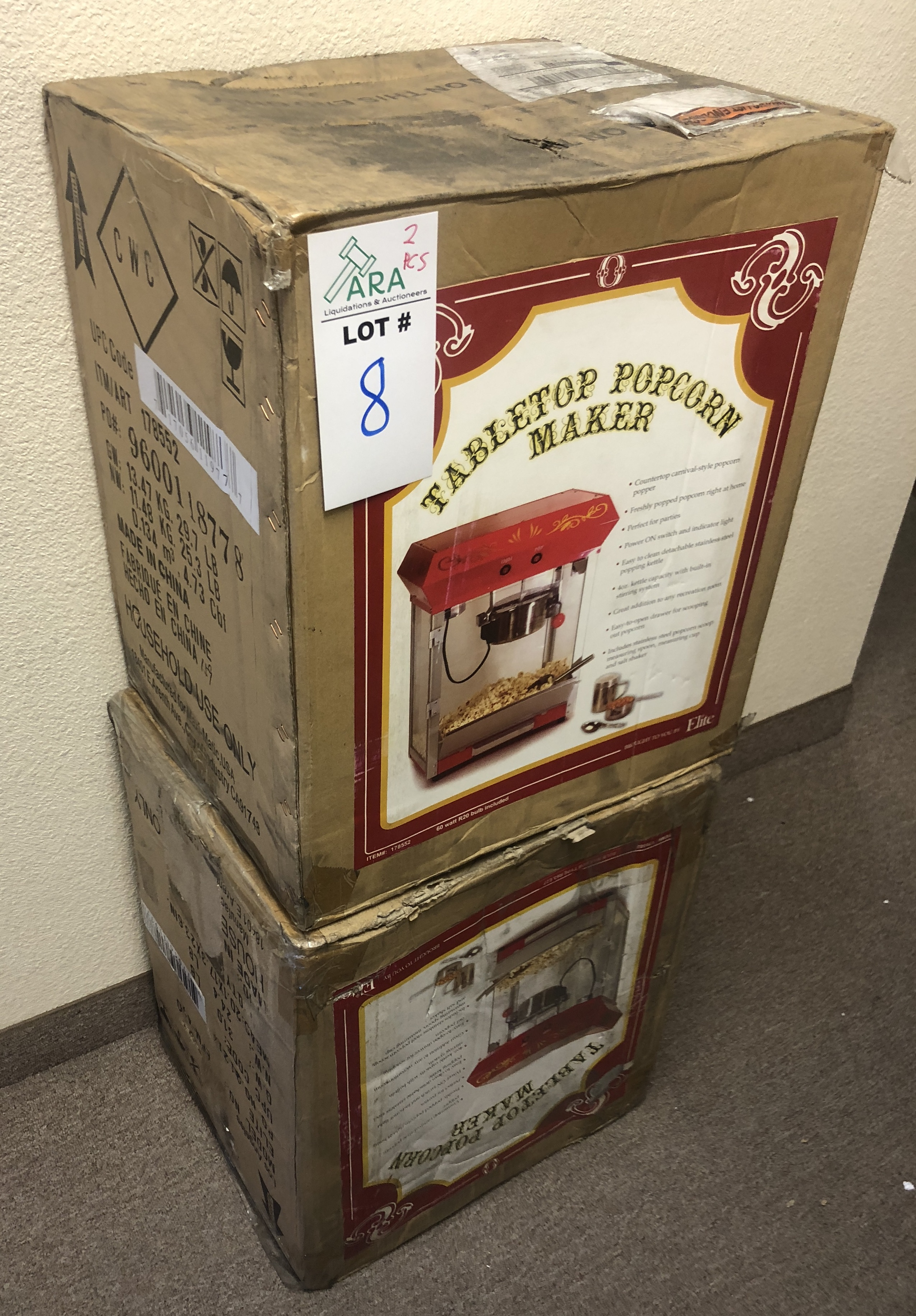 Lot 8 - 2 X ELITE TABLE TOP POPCORN MAKERS FROM BEST BUY