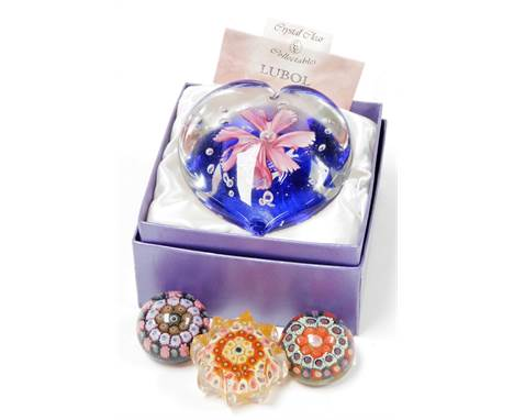 A group of paperweights, to include a Crystal Clear Collectables Lubol glass paperweight in presentation box, with certificat