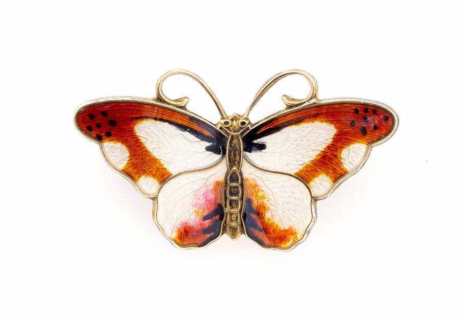 Lot 41 - Hroar Prydz - a Norwegian silver and enamel butterfly brooch, approx 3.7cm wide, gross weight 5.