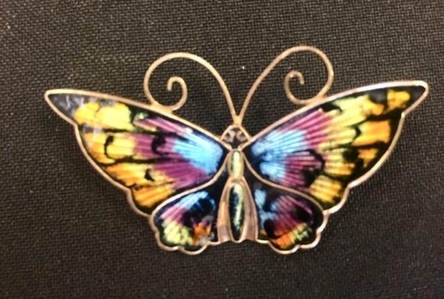 Lot 15 - David Andersen - a Norwegian silver and enamel butterfly brooch, approx 5.5cm wide, gross weight