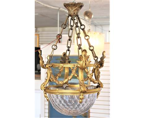 Exquisite French gilt bronze & cut crystal hall light, attributed to the Baccarat factory, mid-19th century, electrified.
