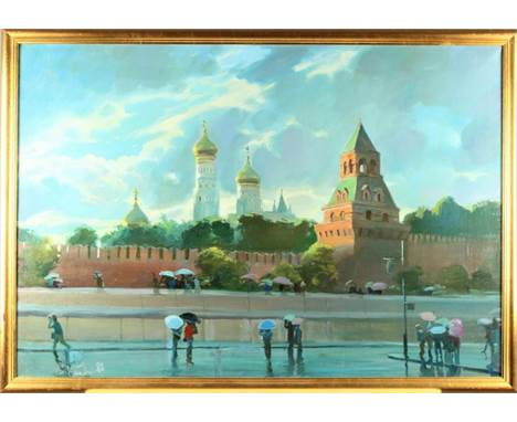 This is a painting by Vladimir Kush (b. 1965) signed in the lower left and dated (1988). It is depicting a Moscow street scen