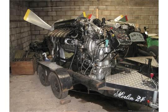 Rolls Royce Merlin 24 V12 Engine Mounted To Twin Axle Display