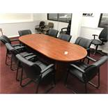 {LOT} Approx. 8' Laminate Top Conference Table w/8 Sled Base Arm Chairs