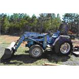 FORD 1720 4X4 FORD TRACTOR W/ DIESEL ENGINE W/ FRONT END LOADER 1594 HOURS LOCATED SITE 1