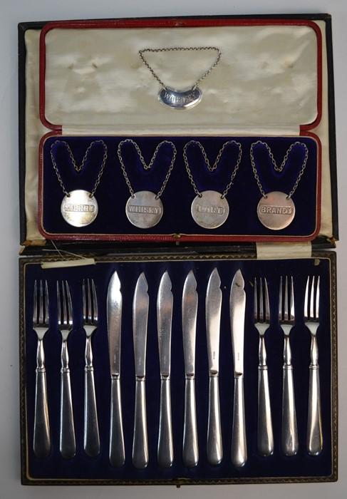 Sampson Mordan silver decanter labels, etc. - Image 2 of 6