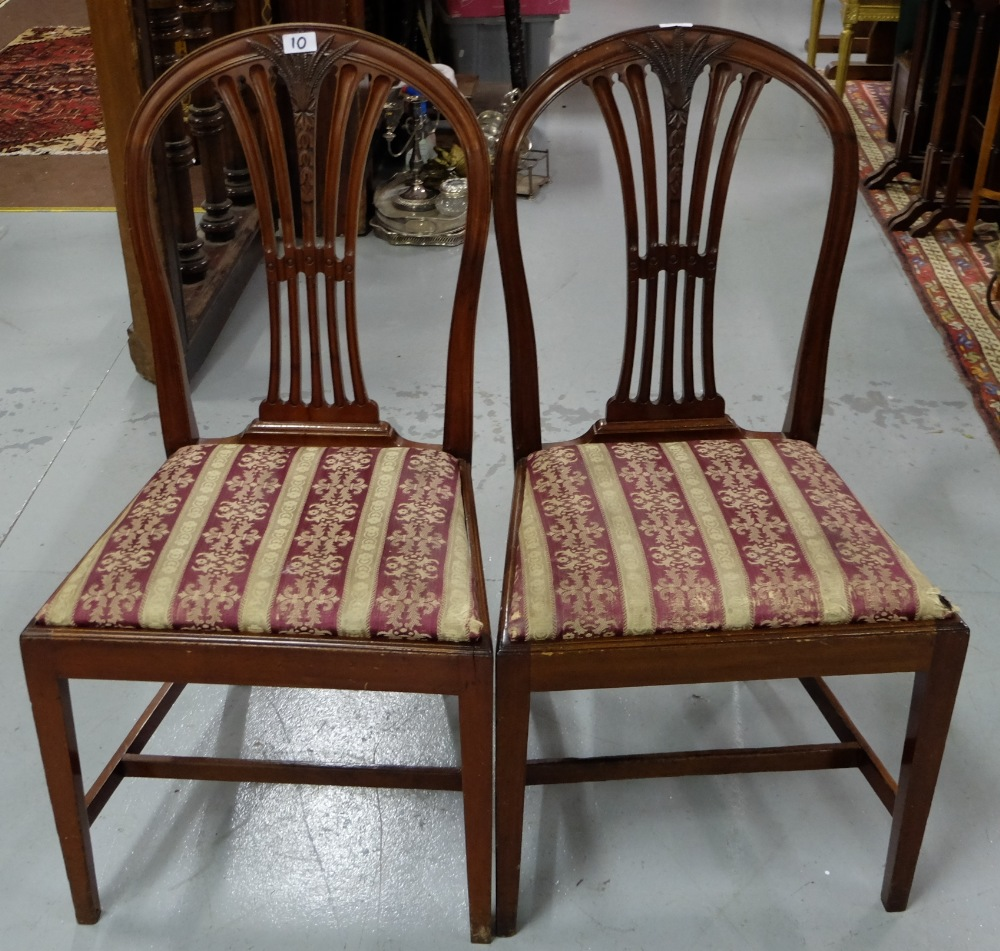 Matching Pair Mahogany Hepplewhite Style Dining Chairs Red And Gold Fabric C