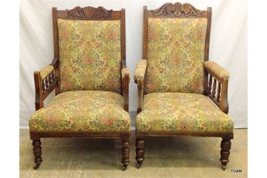 - A Pair Of Edwardian Oak Framed Embroidered Fireside Chairs