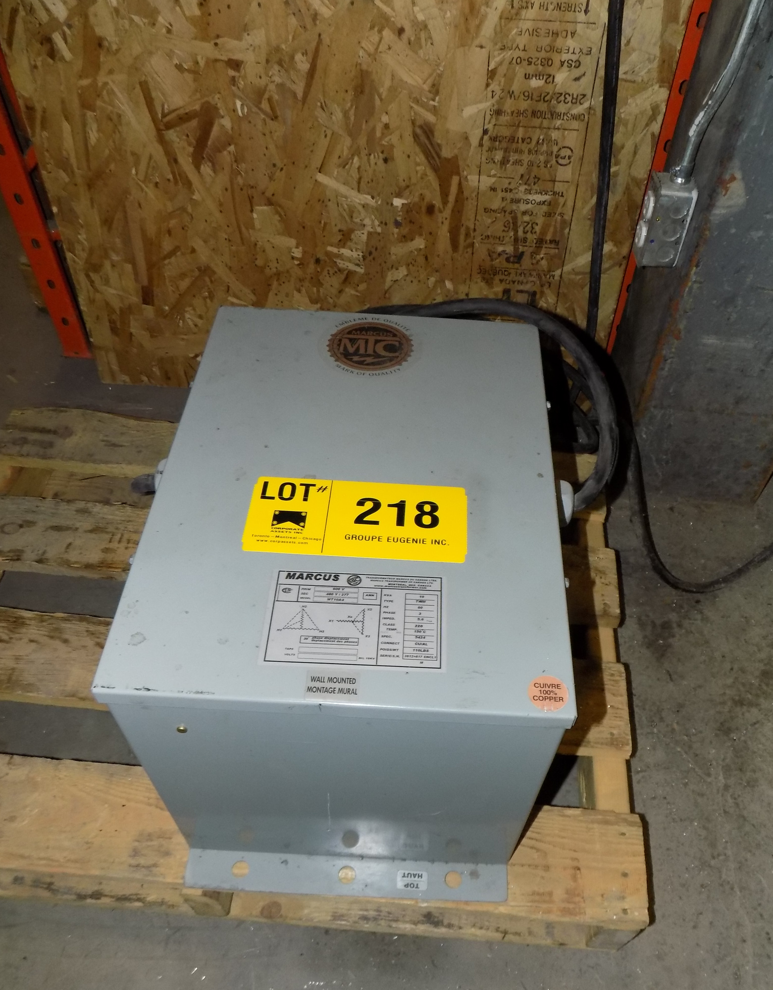 Lot 218 - MARCUS 10KVA/600-480-277V/3PH/60HZ TRANSFORMER