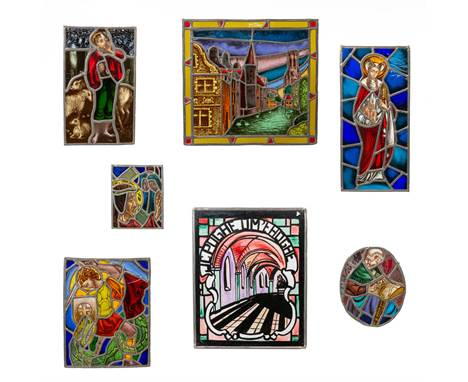 A collection of 7 Stained glass in lead window decorations, with religious decor and a view of Bruges. 44,5 x 36