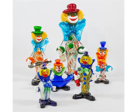 A collection of 6 clowns made of Glass, made in Murano, Italy. 41