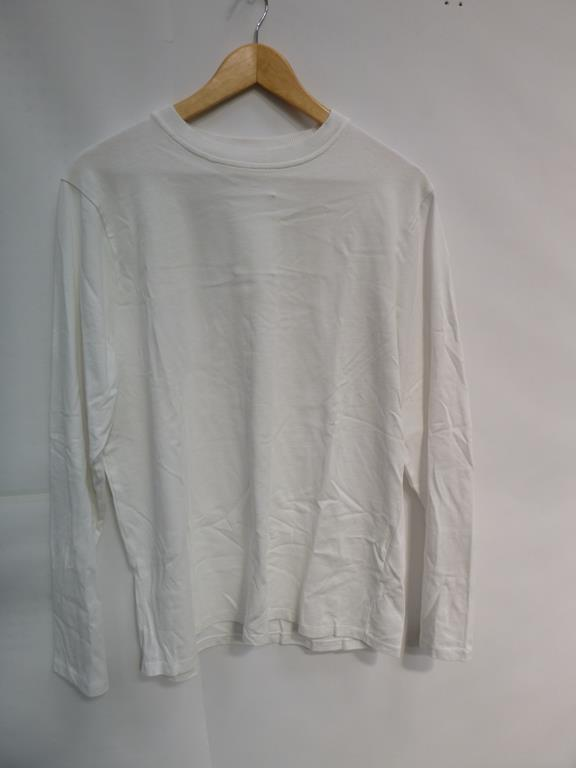 Lot 723 - Four White Long Sleeve T-Shirts, Four Black Long Sleeve (3 S, L), Navy Sweatshirt (?) and