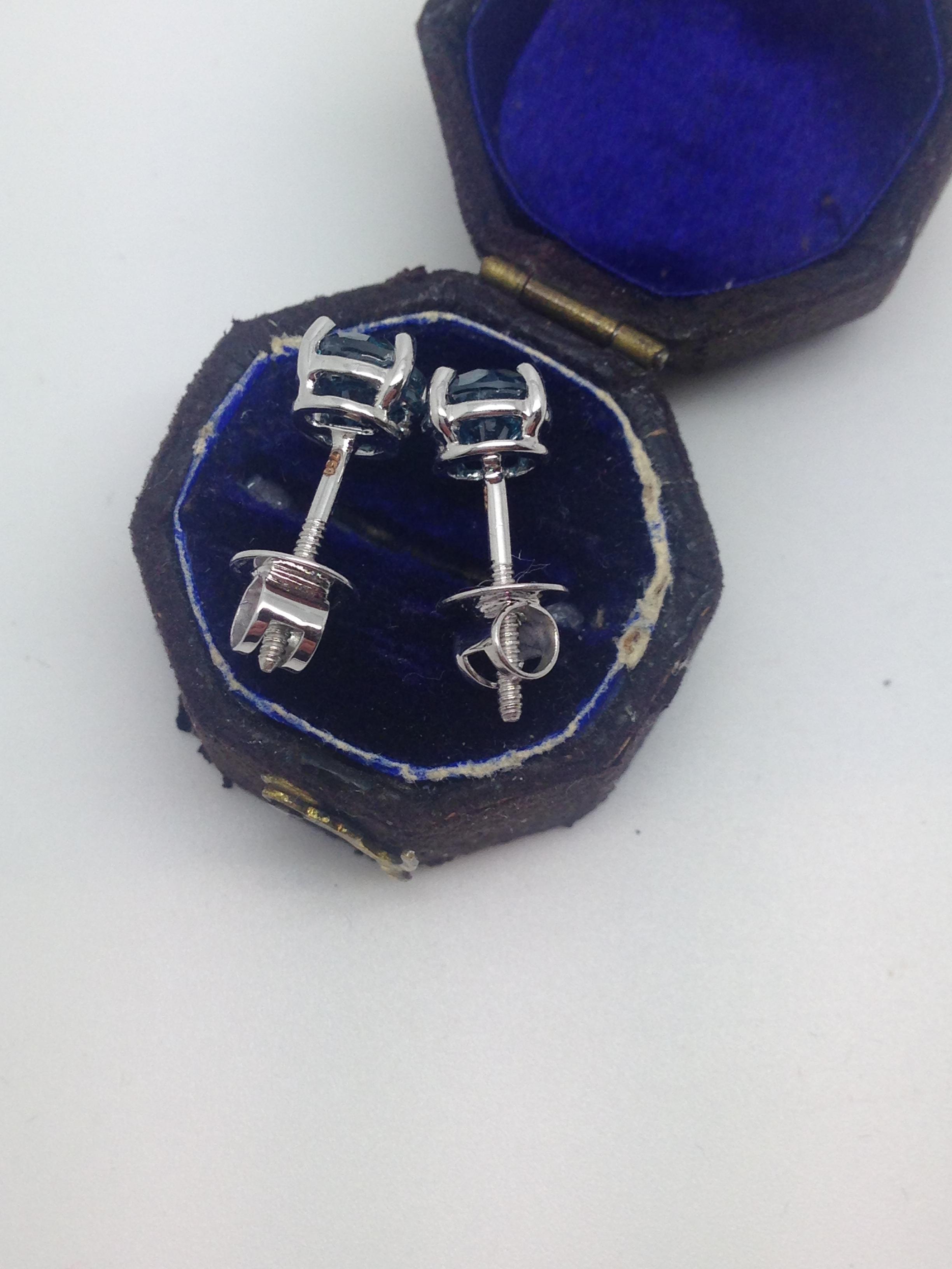 18k white gold blue diamond earrings for Mercedes benz 18k gold ring