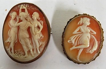 Lot 38 - A 9ct gold cameo brooch of Diana the Huntress, together with a cameo brooch of the Three Graces with