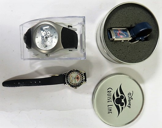 Lot 60 - A cased limited edition 2005 Disney cruise line Mickey Mouse watch, together with two cased Disney