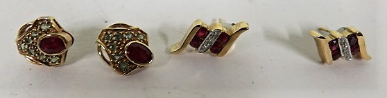 Lot 26 - A pair of 9ct gold, ruby and diamond earrings, together with a pair of 9ct gold ruby and green