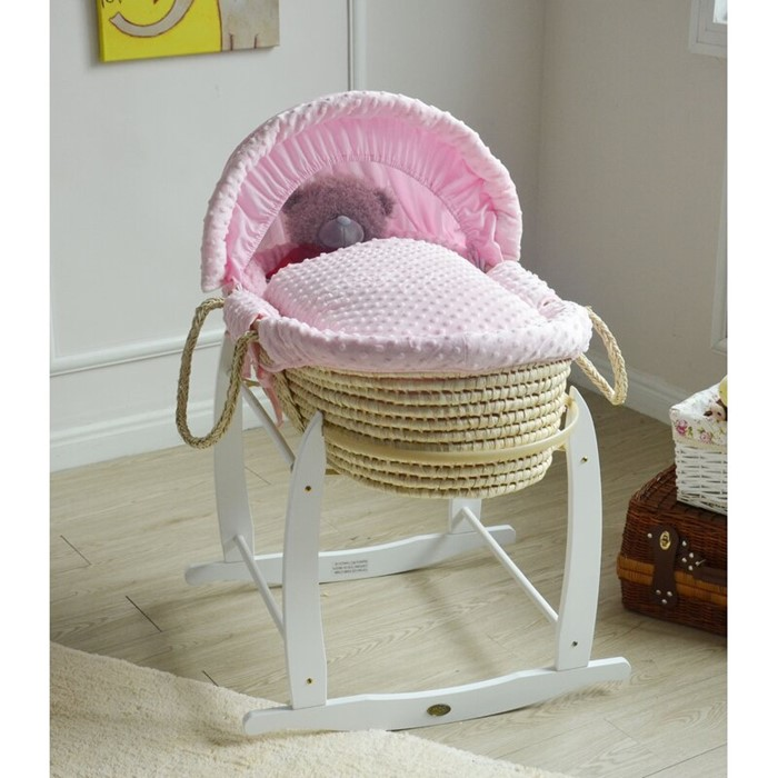Lot 154 - Harriet Bee Julien Kal Moses Basket with Bedding and Stand (PINK) (VIVR1487 - 14747/48) 2C