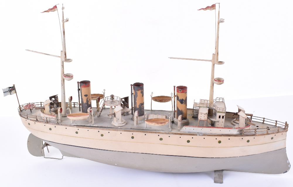 Lot 83 - A Fine Carette clockwork tinplate three funnel Battleship, circa 1910,