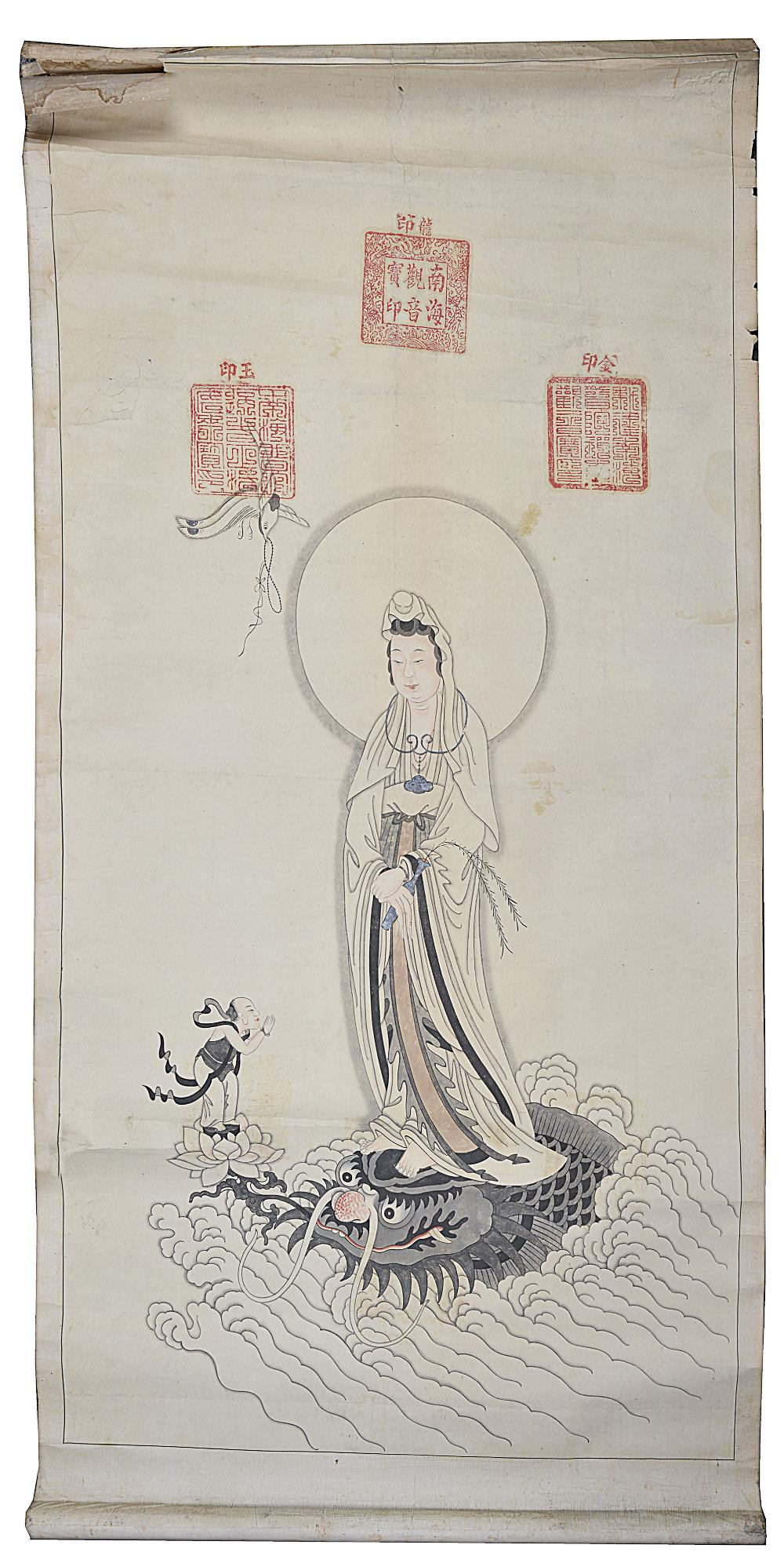Lot 214 - TEN CHINESE SCROLL PAINTINGS, 19TH / 20TH CENTURY comprising: two on silk of birds, pomegranates and
