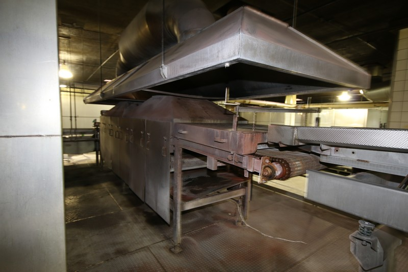 """Lot 9 - Natural Gas Fire Roaster #2, with Aprox. 33"""" W Belt, Includes S/S Exhaust Hood, Overall Dims.:"""