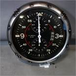 A contemporary Aviator style wall clock, battery operated, Diameter 51cm