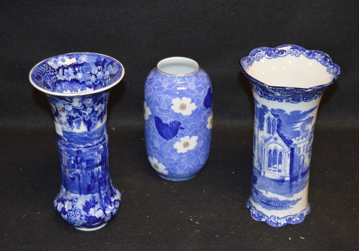 Lot 13 - A George Jones & Co Blue and White Abbey Vase and Two Others